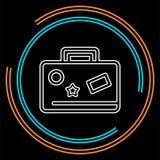 Icono del bolso del viaje - maleta con el concepto de las etiquetas engomadas, del viaje y del turismo, icono del día de fiesta ilustración del vector