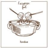 Icono del bosquejo de la 'fondue' para el diseño suizo europeo del menú de la cocina de la comida libre illustration
