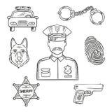 Icono del bosquejo de la profesión del oficial de policía o del policía Foto de archivo libre de regalías