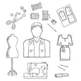 Icono del bosquejo de la profesión del sastre o del diseñador de moda Fotografía de archivo libre de regalías