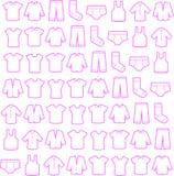 Icono del bosquejo de la ropa fijado para el web Imágenes de archivo libres de regalías