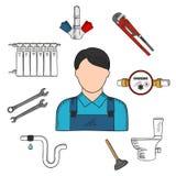 Icono del bosquejo del fontanero con las herramientas y los equipos de la mano Foto de archivo libre de regalías