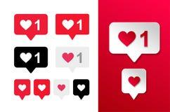 Icono del botón del amor del sistema de como y del corazón Tenido gusto burbuja roja, blanco y negro Ilustración del vector Aisla Stock de ilustración