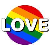 Icono del bot?n del c?rculo de la bandera del orgullo del lgbt del arco iris con la inscripci?n con amor de la palabra en estilo  stock de ilustración
