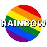 Icono del bot?n del c?rculo de la bandera del orgullo del lgbt del arco iris con la inscripci?n con el arco iris de la palabra en ilustración del vector