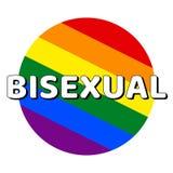 Icono del bot?n del c?rculo de la bandera del orgullo del lgbt del arco iris con la inscripci?n con la palabra bisexual en estilo stock de ilustración