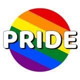 Icono del bot?n del c?rculo de la bandera del orgullo del lgbt del arco iris con la inscripci?n con orgullo de la palabra en esti libre illustration
