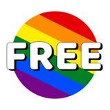 Icono del bot?n del c?rculo de la bandera del orgullo del lgbt del arco iris con la inscripci?n con la palabra libre en estilo mo libre illustration