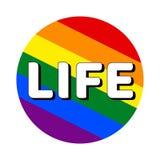 Icono del bot?n del c?rculo de la bandera del orgullo del lgbt del arco iris con la inscripci?n con vida de la palabra en estilo  ilustración del vector
