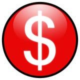 Icono del botón de la muestra de dólar (rojo) Foto de archivo libre de regalías