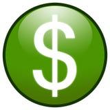 Icono del botón de la muestra de dólar (verde) Imágenes de archivo libres de regalías