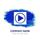 Icono del botón de reproducción - fondo azul de la acuarela stock de ilustración