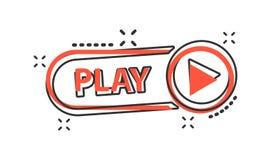 Icono del botón de reproducción de la historieta del vector en estilo cómico Muestra del vídeo del juego ilustración del vector