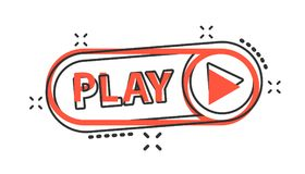 Icono del botón de reproducción de la historieta del vector en estilo cómico Muestra del vídeo del juego stock de ilustración