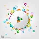 Icono del botón de reproducción botón del uso Computación social de los medios y de la nube stock de ilustración