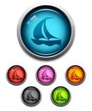 Icono del botón del barco de vela Fotos de archivo libres de regalías