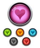 Icono del botón del corazón Fotos de archivo libres de regalías