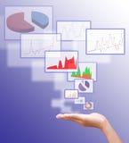 Icono del botón del presionado a mano del hombre de negocios Imagenes de archivo