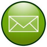 Icono del botón del sobre del email (verde) Imágenes de archivo libres de regalías
