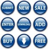 Icono del botón del vector, azul Fotografía de archivo libre de regalías