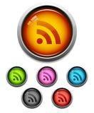 Icono del botón de la alimentación de RSS Foto de archivo libre de regalías