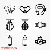 Icono del boxeo, equipo y gráficos de vector del deporte, símbolo en un fondo ilustración del vector