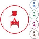 Icono del brasero y del pollo Imagen de archivo libre de regalías