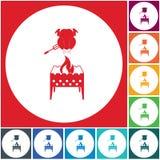 Icono del brasero y del pollo Fotos de archivo libres de regalías