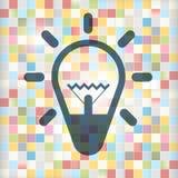 Icono del bulbo en fondo colorido de los cuadrados Imagenes de archivo