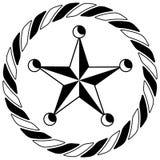 Icono del círculo de Western Star Rope del sheriff Foto de archivo libre de regalías