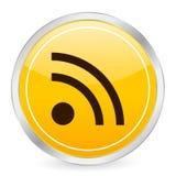 Icono del círculo del amarillo del símbolo de Rss   Imagenes de archivo