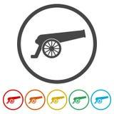 Icono del cañón, 6 colores incluidos libre illustration