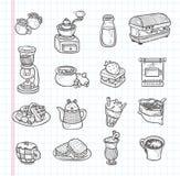 Icono del café del garabato Imagen de archivo libre de regalías