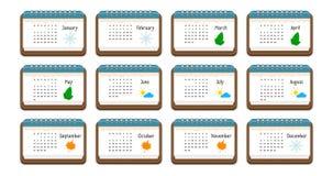 Icono del calendario con el nombre de meses, de días laborables, de semanas, y de la imagen del color para cada mes, Imágenes de archivo libres de regalías