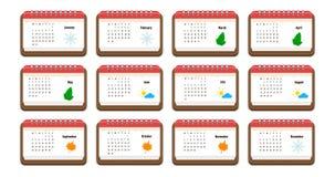 Icono del calendario con el nombre de meses, de días laborables, de semanas, y de la imagen para cada mes, notas del color Foto de archivo