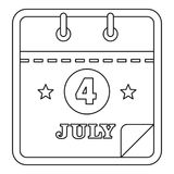 Icono del calendario de julio, estilo del esquema stock de ilustración