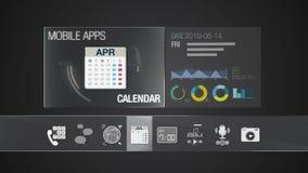 Icono del calendario para el contenido de la aplicación móvil Diversa función del uso para el dispositivo elegante Uso del indica ilustración del vector