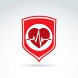 Icono del cardiograma del corazón de la protección de la cardiología, cardiio Fotografía de archivo libre de regalías