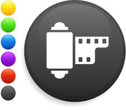 Icono del carrete de la cámara en el botón redondo del Internet Imagen de archivo