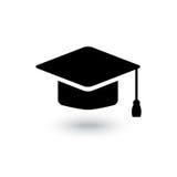 Icono del casquillo del graduado del negro del vector Fotografía de archivo libre de regalías