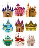 Icono del castillo del cuento de hadas de la historieta Imágenes de archivo libres de regalías
