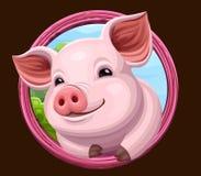 Icono del cerdo con el marco ilustración del vector