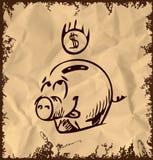 Icono del cerdo del dinero en fondo del vintage Fotos de archivo libres de regalías