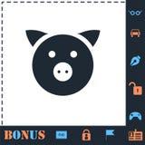 Icono del cerdo plano stock de ilustración