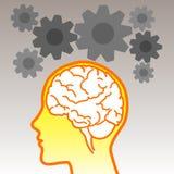 Icono del cerebro con los engranajes Fotografía de archivo