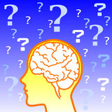 Icono del cerebro de la duda Fotografía de archivo libre de regalías