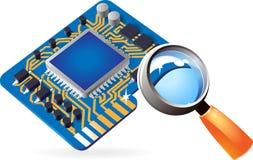 Icono del chipset y de la lente Imagen de archivo