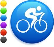 Icono del ciclista en el botón redondo del Internet Foto de archivo libre de regalías