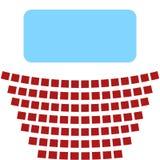 Icono del cine, una pantalla azul y filas de asientos en el teatro Imágenes de archivo libres de regalías