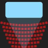 Icono del cine, una pantalla azul y filas de asientos en el teatro Fotografía de archivo libre de regalías